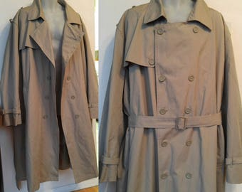 New MENS 58R 4XL London Fog Raincoat Trench New Old Deadstock Water-Resistent 58 60 chest Beige LINER