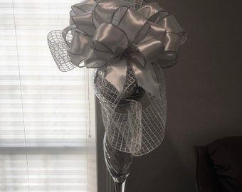 Silver and White Bow and Hat