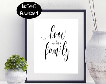 Love Makes a Family Printable Art Prints Family Artwork Home Decor Housewarming Gift Family Wall Art Sign  Digital Download INSTANT DOWNLOAD