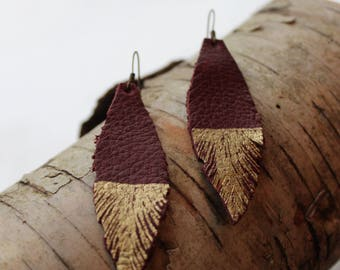 Reclaimed leather feather earrings- red wine and gold