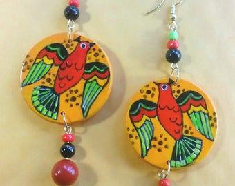 Ascending Birds/Grecian Inspired/Handpainted Earrings