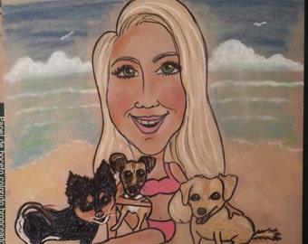 Caricature  3 Pets and one person Custom Color 14x18 ,pet drawing,pet cartoon,pet caricature,funny pet pics,pet portrait