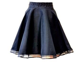 Black circle  Lolita skirt, Black gothic skirt, Skater skirt, Short circle skirt, Steampunk skirt, Pin-up skirt Gothic fashion, Gothabilly