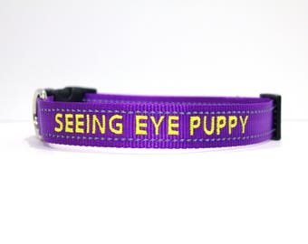 Custom Personalized Embroidered Purple reflective Dog Collar