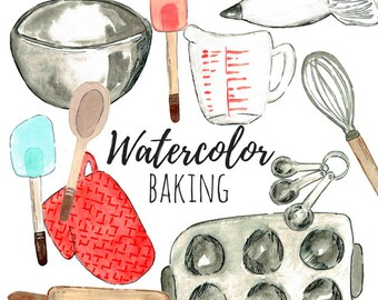 Baking Clip Art - Cooking Clip Art - Food Clip Art - Watercolor art, Watercolor clip art for commercial and personal use