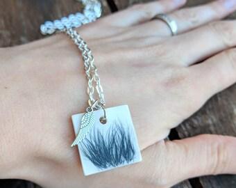 Pet loss jewelry, hair locket, pet fur, memorial, pet keepsake, pet necklace, personalized pet, urn, cremation, with angel wing