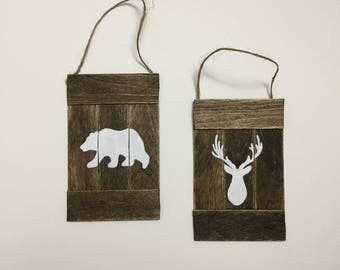 Christmas Ornaments, Farmhouse Christmas Decor, Set of Two Rustic Christmas Ornaments, Bear Ornament, Deer Ornament, Hostess Gift