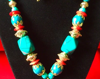 Rumtix 1024 Central-South American BlueGreen beads Design, Pendants with Earrings