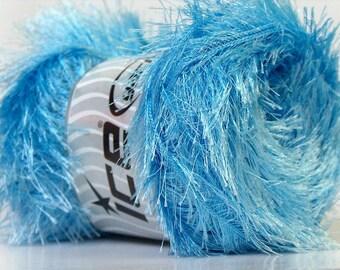 Large 100gram Light Blue Eyelash Yarn Ice Fun Fur 164 Yards 22733
