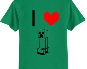 I Love Minecraft Creeper T-Shirt