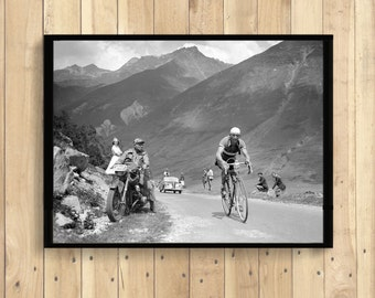 Tour de France 1950 Photography Print - Gino Bartali Tour De France Poster Gino Bartali Poster Cycling Decor Bike Poster Gift Idea
