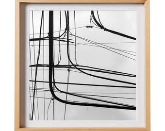 Hato Rey Wires.  Urban photography, San Juan, Puerto Rico, decor, wall art, artwork, large format photo.