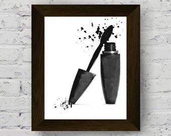 mascara fashion illustration, mascara print, black and white large poster, makeup printable artwork, wall art prints, digital download