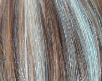 Remy 100% Human Hair Extension Clip in Streaks Straight - Bleach Blonde/ Warm Brown