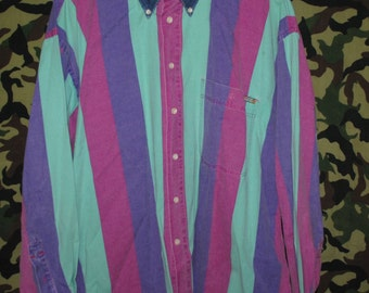 Multicoloured Striped Button up