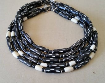 CARVED BONE BEAD Choker. Black and White Short Necklace with Real Bone, Horn Tubes. Unbreakable. Mens, Womens, Unisex Tribal Surfer Jewelry