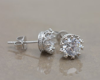 Bridal Stud Earrings, Crystal Stud Earrings, Crown Stud Earrings, CZ Post Earrings, Bridesmaid Wedding Earrings 0274