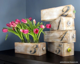 Rustic Numbered Box Wedding Party Centerpiece