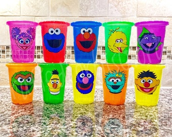 Sesame Street Party Favors Personalized Cups - Set of 3