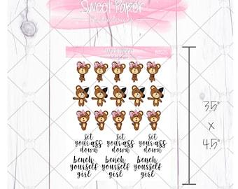 Bench Yourself Girl Bear Sticker B0025