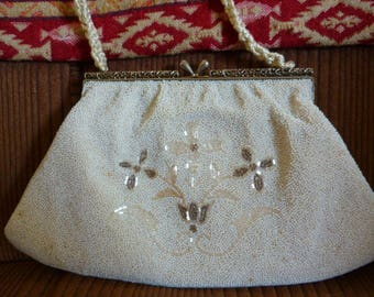 Vintage Beaded Evening Purse In Ivory Pearl, Bridal Purse, Clutch, Evening Bag
