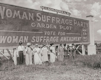 Suffragettes Protesting for Equality, Equal Pay, Black White Photography Print, Voting Rights, Equal Rights, Resist, Wall Art Decor, 1917