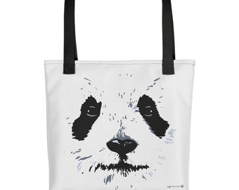 Panda White Face Tote bag, fashion tote bag, beach tote, travel tote. Cute and cuddly Panda tote for Panda lovers animal lovers, Panda love