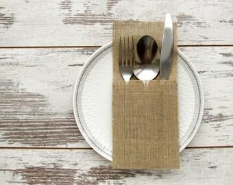 20 Burlap silverware holders, Wedding cutlery holders, Rustic silverware holders, Wedding table decor
