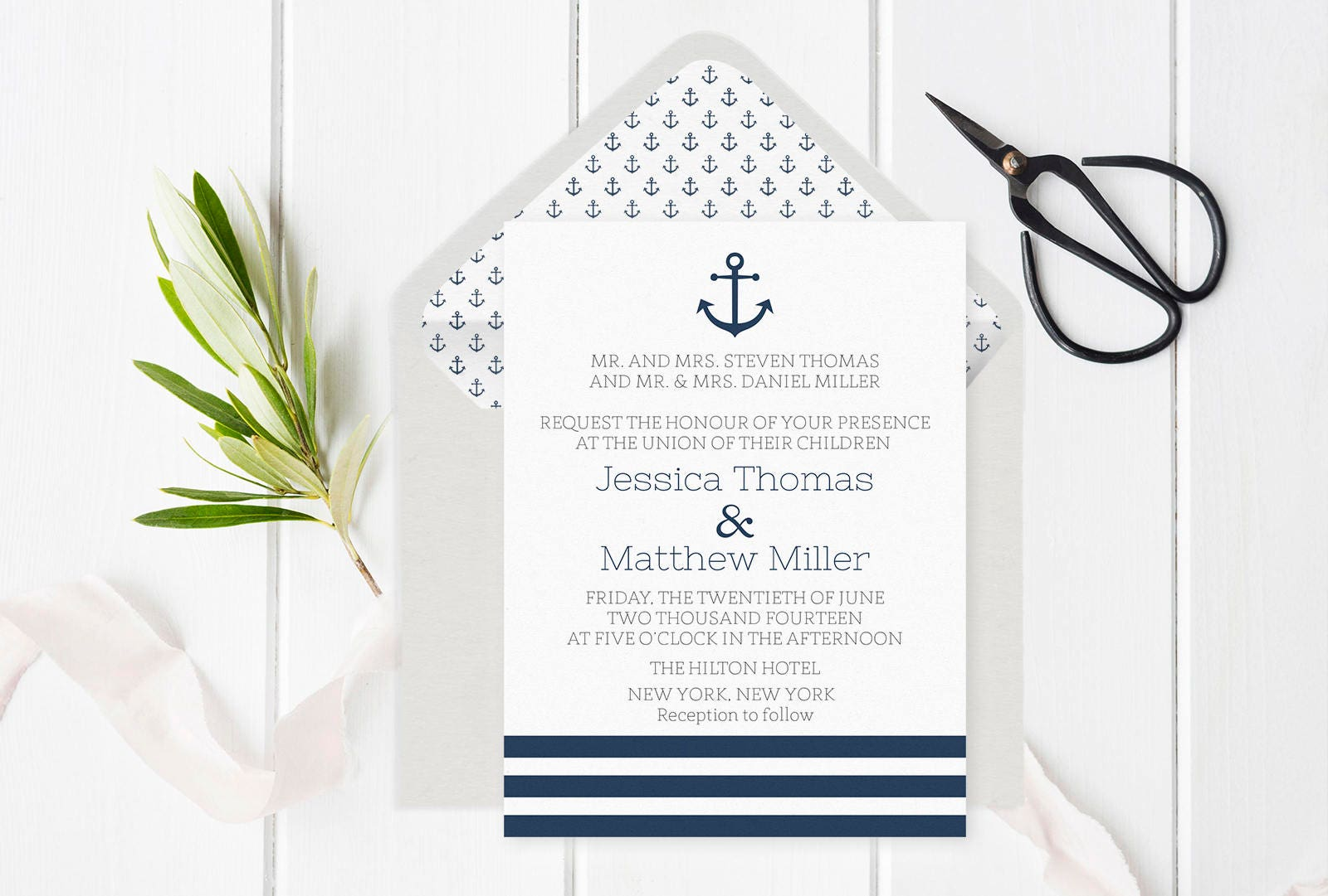 anchor wedding invitations nautical wedding invitation template anchor amp striped 1298