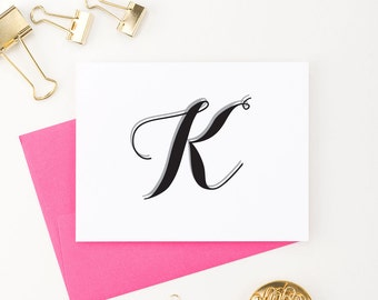 Personalized Monogram Stationery set, Modern Monogram note cards, Monogram stationary set, Monogram Thank you cards, letter stationery