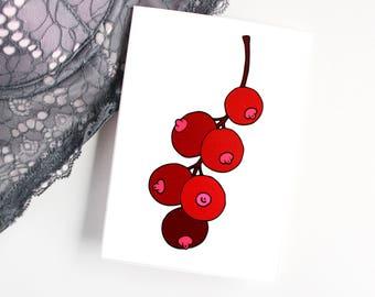 feminist boob card, funny boobs card, nipple card, free the nipple card,boobies card, funny fruit card,feminist postcard,currants card