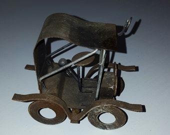 Folk art car/ rustic car/ welded car/ scrap metal car sculpture/ collectable car/ brutalist art/ tin lizzie/ gift for him/ retro decor