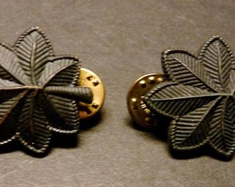 SALE -U.S. Army Lt. Colonel Oak Leaf Collor Insignia Pins  Pair- black subdued