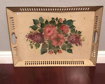 Vintage Tole Painted Tray with Flowers