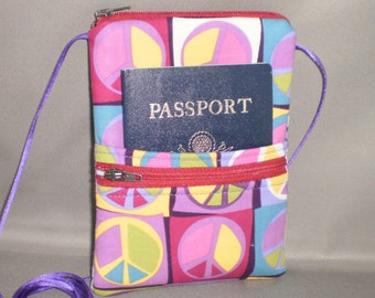 Passport Purse - Peace Signs - Wallet on a String - Sling Bag - Funky - Retro - Mod