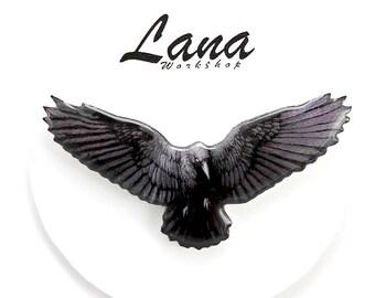 Raven brooch a symbol of wisdom, bird brooch, bird pin, raven jewelry, bird clay, black Raven, spread wings, flying bird.