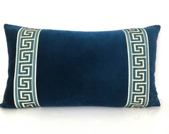 Navy Pillow Cover - Blue Velvet Lumbar Pillow with Greek Key Trim