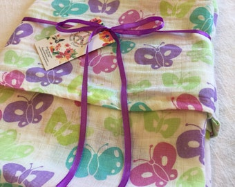 Double gauze swaddle, Muslin swaddle, baby blanket, butterfly, butterflies, swaddle blanket, cotton swaddle, swaddle, baby gift