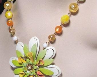 Vintage Enamel Flower Statement Necklace -- Citrus Splash -- OOAK