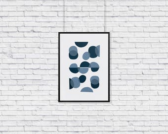 Abstract minimal dots, screen-printed wall-art
