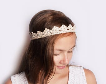 Gold Bride Crown Headband, Hair Piece Wedding, Rustic Wedding Crown, Bohemian Head Piece, Beach Wedding Headpiece, Boho Wedding Bridal Crown