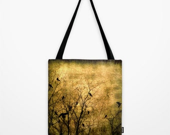 Tote Bag, Crow Tote Bag,Crows in Branches Market Shopping Tote, Golden Yellow Sepia Black Raven Fashion Tote, Book Bag, Shoulder Sling Bag