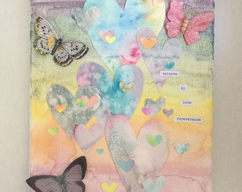 Mixed Media - Hearts - Love - Watercolor and Paper on Canvas