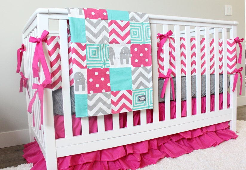 Bright Pink Girl Baby Bedding Teal Hot Gray Crib