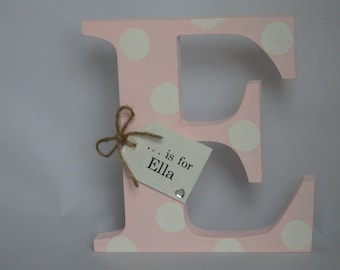 Personalised Wooden Initial Letter Free Standing Baby Girl Boy Gift Nursery Bedroom Christening Shabby Chic Handcrafted