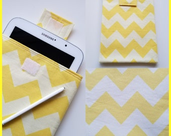 Yellow Chevron E-Reader Sleeve, Kindle Cover, Kindle Case, Tablet Sleeve, Tablet Case