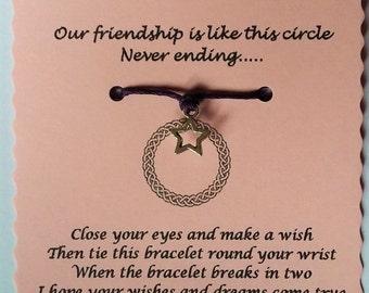 Friendship Wish Bracelet, Friendship Gift, Friendship Circle Bracelet, Charm bracelet, Friend Bracelet, Friend Gift, Friend Jewellery,