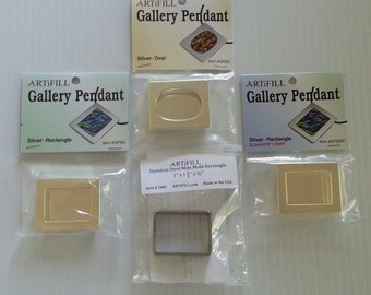 Gallery Pendant 3 pack with Stainless Mini Rectangle Mold #GP3RM