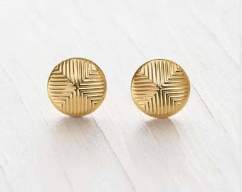 Gold earrings, Quadrant Gold Earrings, simple everyday, ocean jewelry, Gold post Summer Fashion, round gold post earrings, gold studs, gold