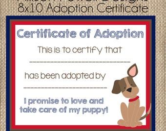 Puppy-Dog-Puppy Dog Birthday Party Adoption Certificate